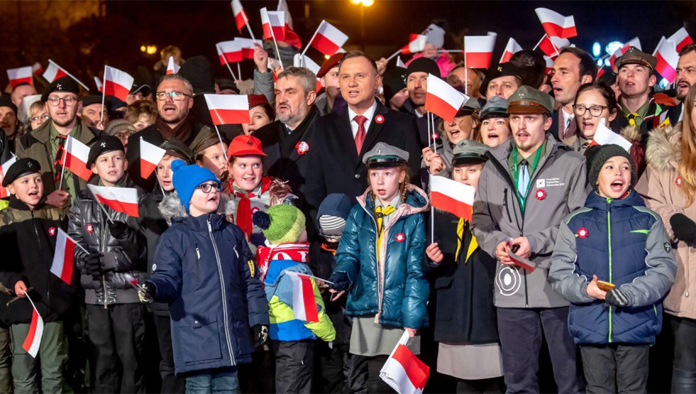Prezydent Andrzej Duda również uczestniczył w uroczystościach (fot. PAP/Tytus Żmijewski)