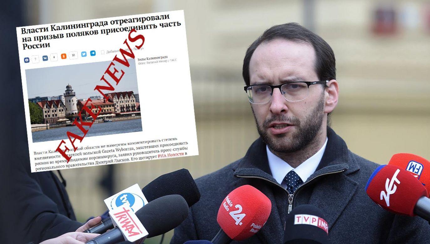 Wzmożona aktywność dezinformacyjna w czasie epidemii (fot. PAP/Marcin Obara; Twitter/Stanisław Żaryn)