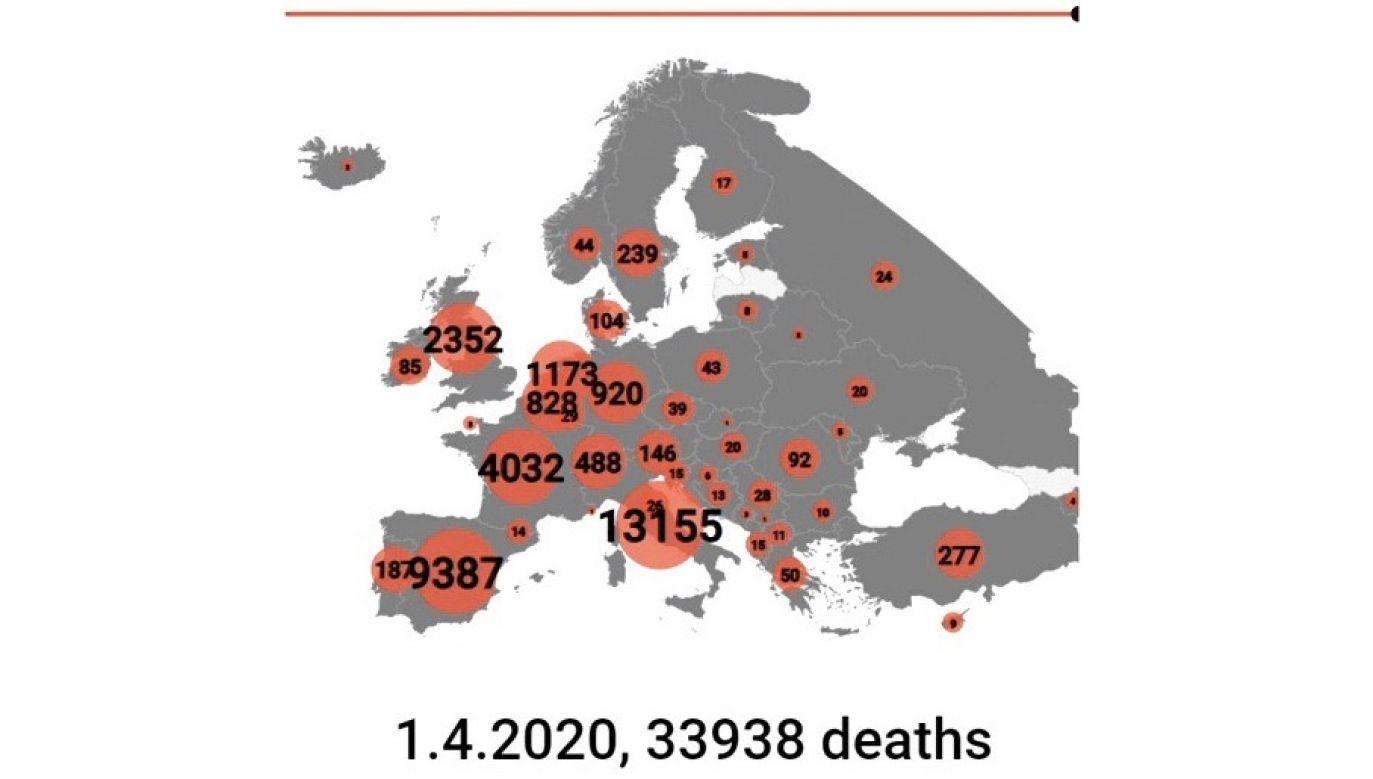 Koronawirus na mapie. Zgony w Europie, począwszy od 22 stycznia (fot. EBU)