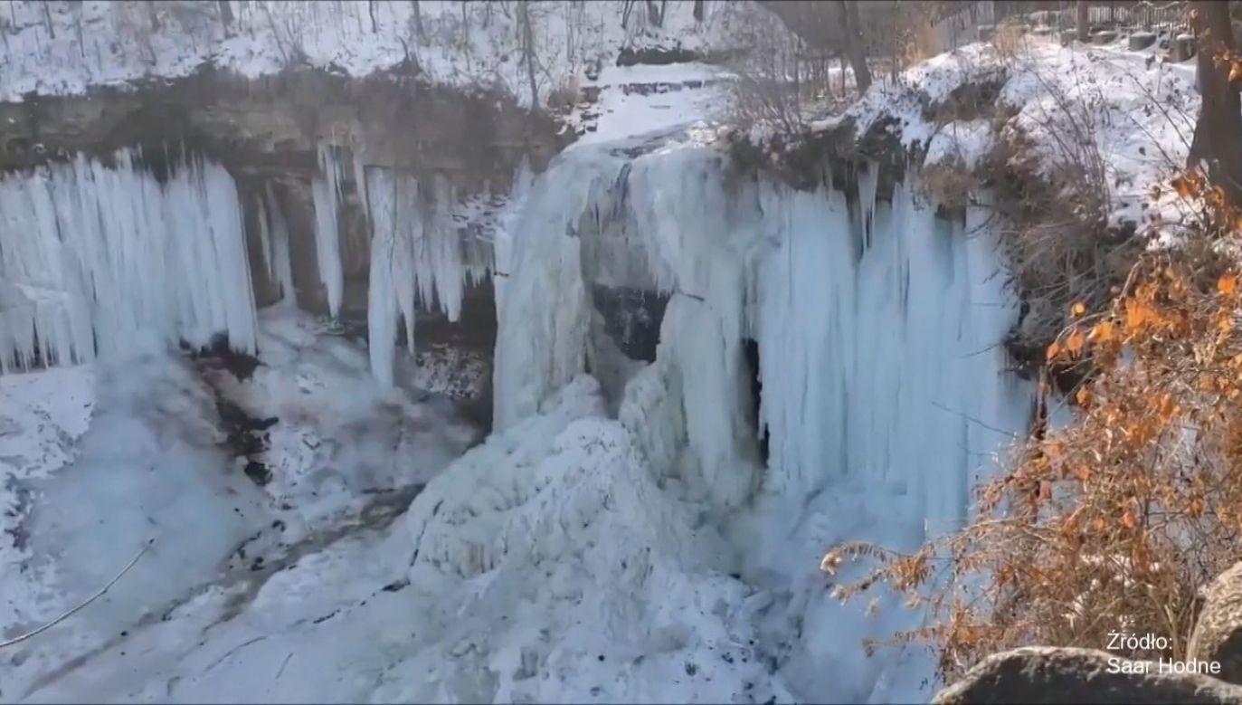 Wodospad w Minnesocie częściowo zamarzł (fot. EBU/Saar Hodne)