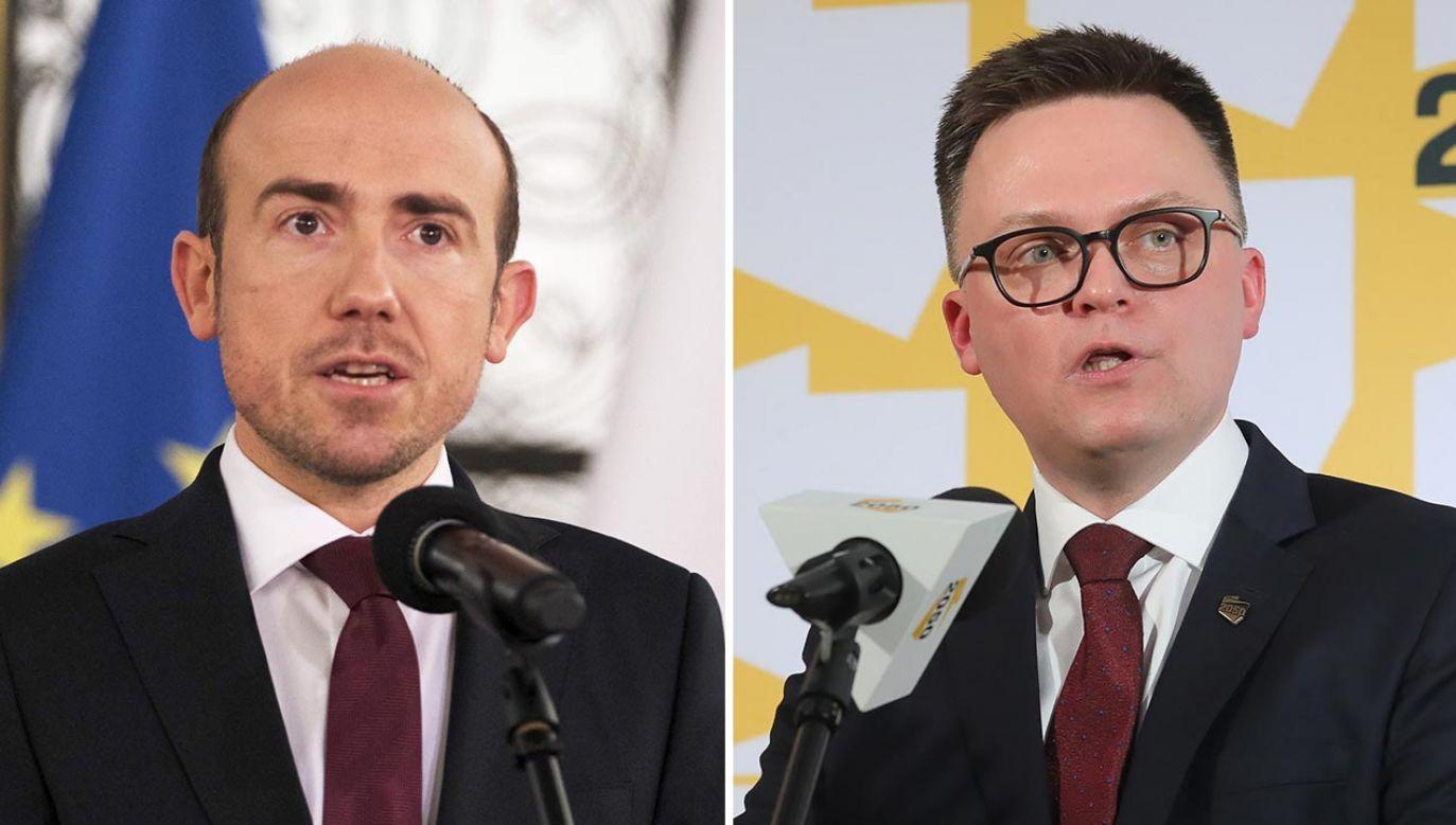 Lider PO Borys Budka (L) może spoglądać z niepokojem na ugrupowanie Szymona Hołowni (P) (fot. PAP/Mateusz Marek, Paweł Supernak)