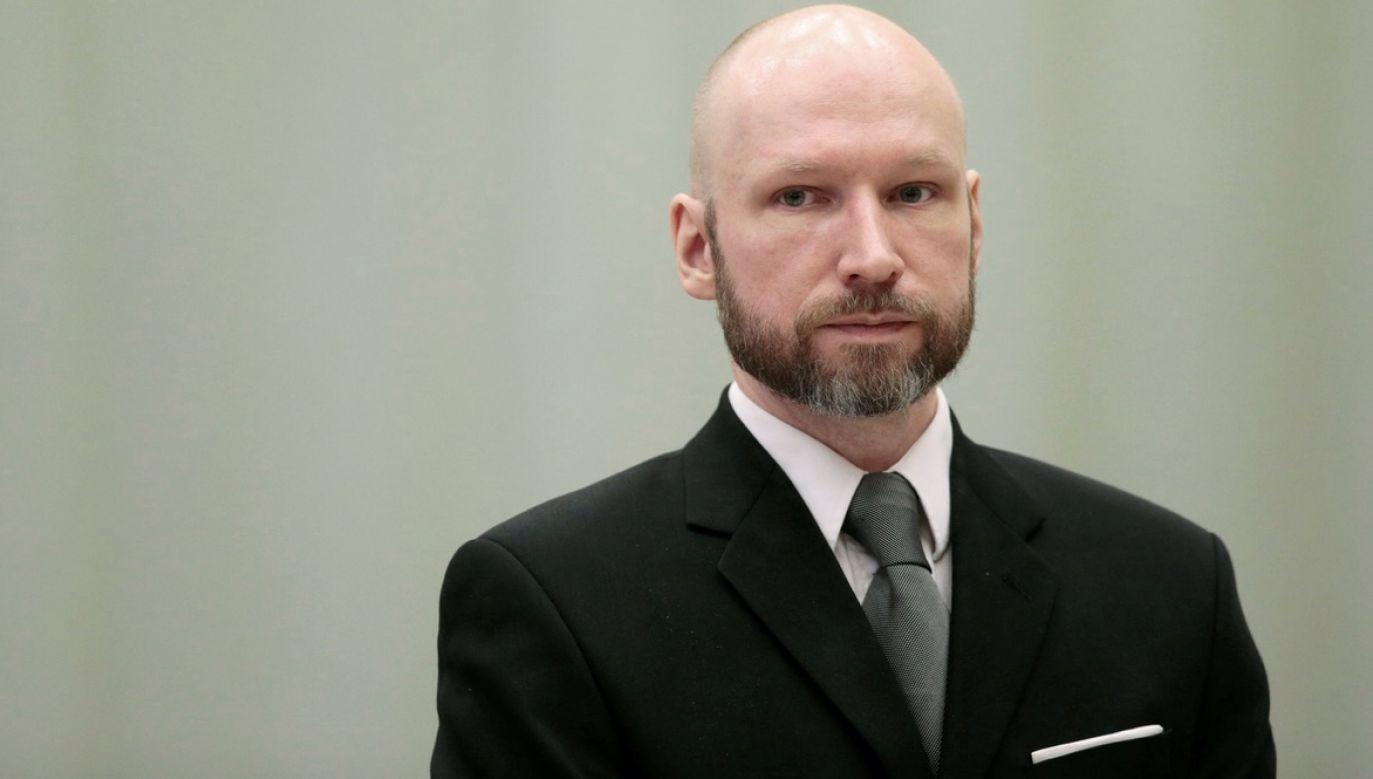Breivik został skazany za dokonanie ataku terrorystycznego w 2012 r. (fot. NTB Scanpix/Lise Aaserud via REUTERS/File Photo)