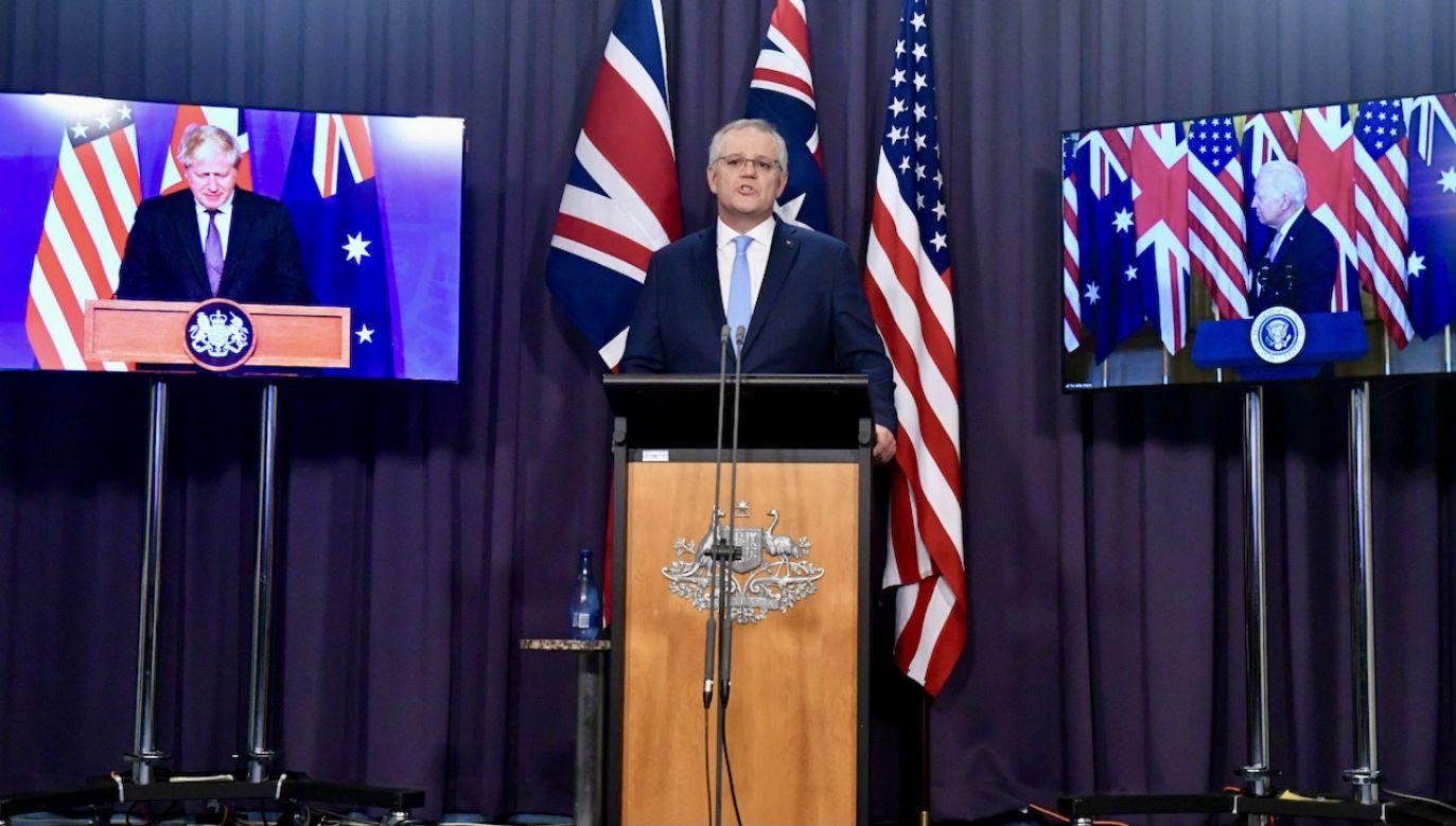 Pakt bezpieczeństwa USA, Australii i Wlk. Brytanii (fot. PAP/EPA/MICK TSIKAS)