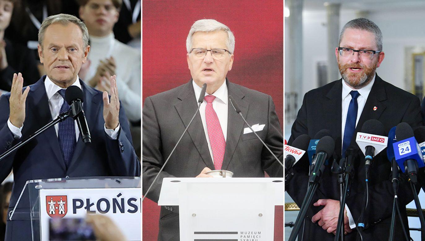 Donald Tusk, Bronisław Komorowski, Grzegorz Braun (fot. PAP/Wojciech Olkuśnik, Artur Reszko, Radek Pietruszka)