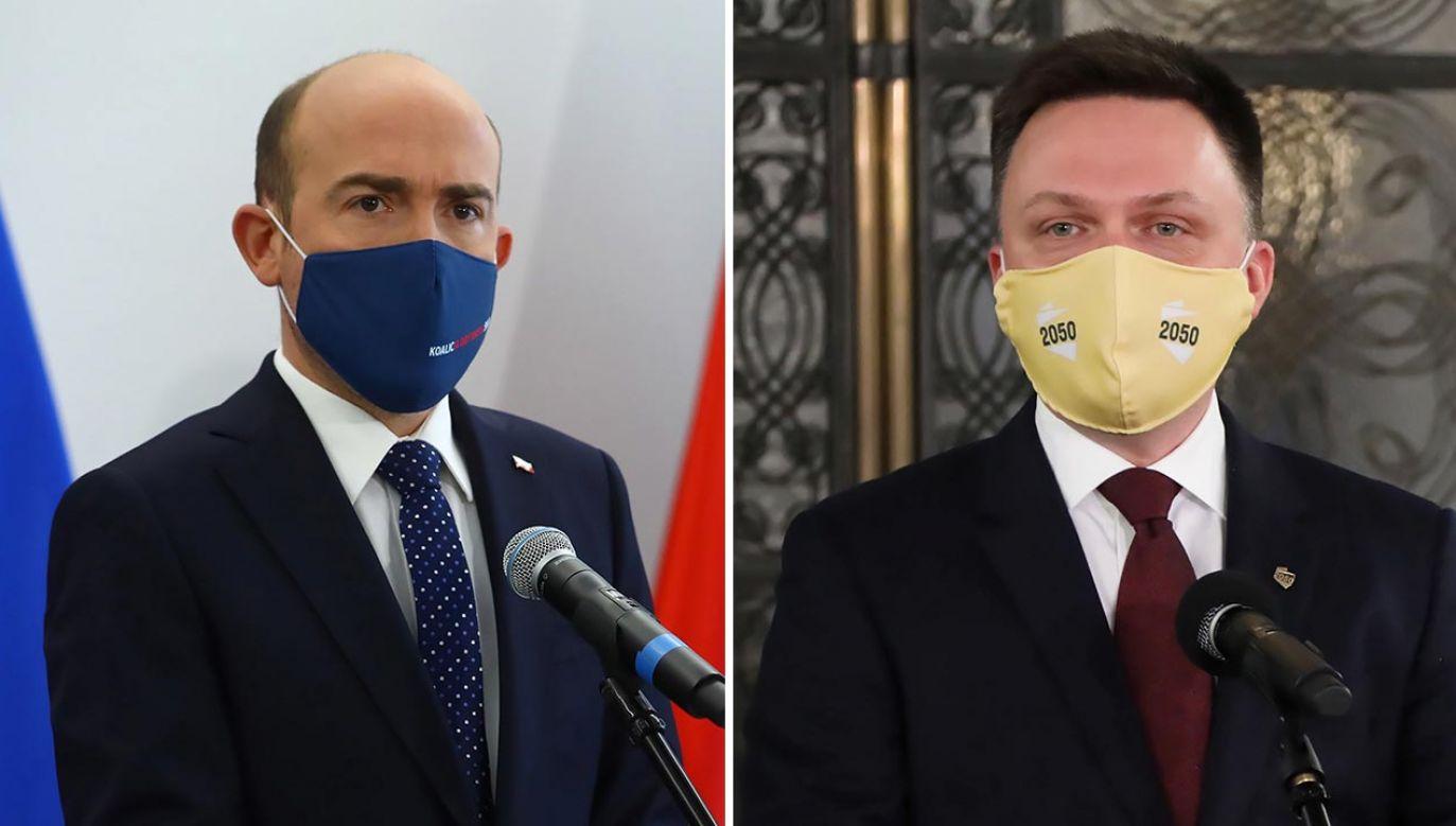 Liderzy PO Borys Budka i Polski 2050 Szymon Hołownia (fot. PAP/Rafał Guz, Wojciech Olkuśnik)
