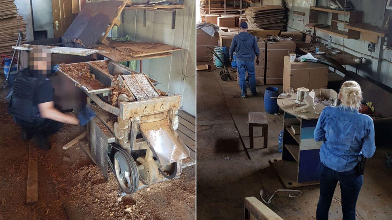 Służby zlikwidowały 8 zakładów, w których przetwarzano i magazynowano tytoń oraz alkohol bez akcyzy (fot. CBŚP)