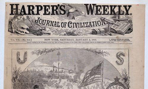 """Święty mikołaj, którego znamy,  jest anglosaski. Korpulentny, brodaty i przynoszący prezenty żołnierzom Unii w czasach wojny secesyjnej w USA weteran, ozdobił stronę tytułową świątecznego magazynu """"Harper's"""" 3 stycznia 1863 roku [na zdjęciu; autorem drzeworytu był Thomas Nast, Amerykanin urodzony w Niemczech (1840Landau – 1902 Guayaquil)]. Przypomina już nam dzisiejszego, choć jeszcze nie ma czapki z pomponem. Fot. Sepia Times / Universal Images Group via Getty Images"""