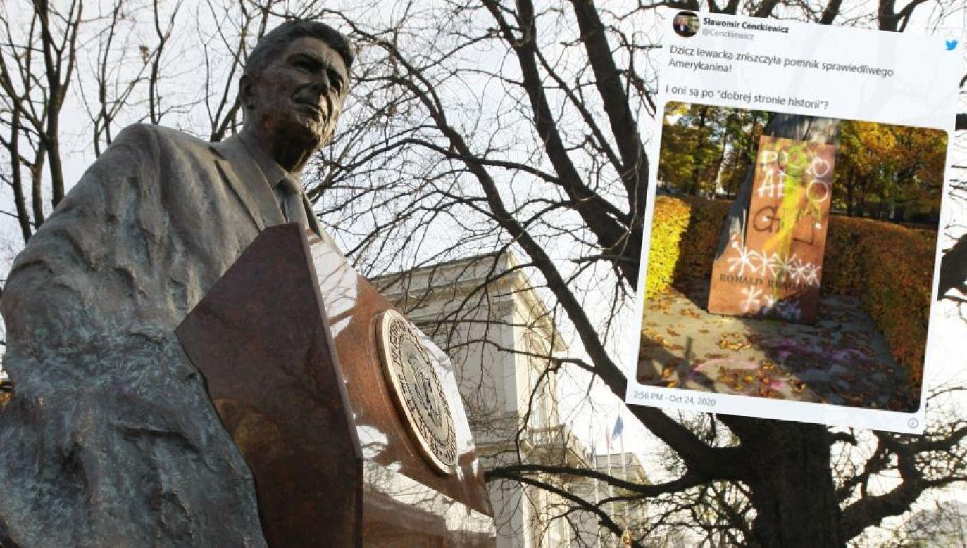 Pomnik Reagana w Warszawie (fot. REUTERS/Kacper Pempel; Twitter/ Sławomir Cenckiewicz)