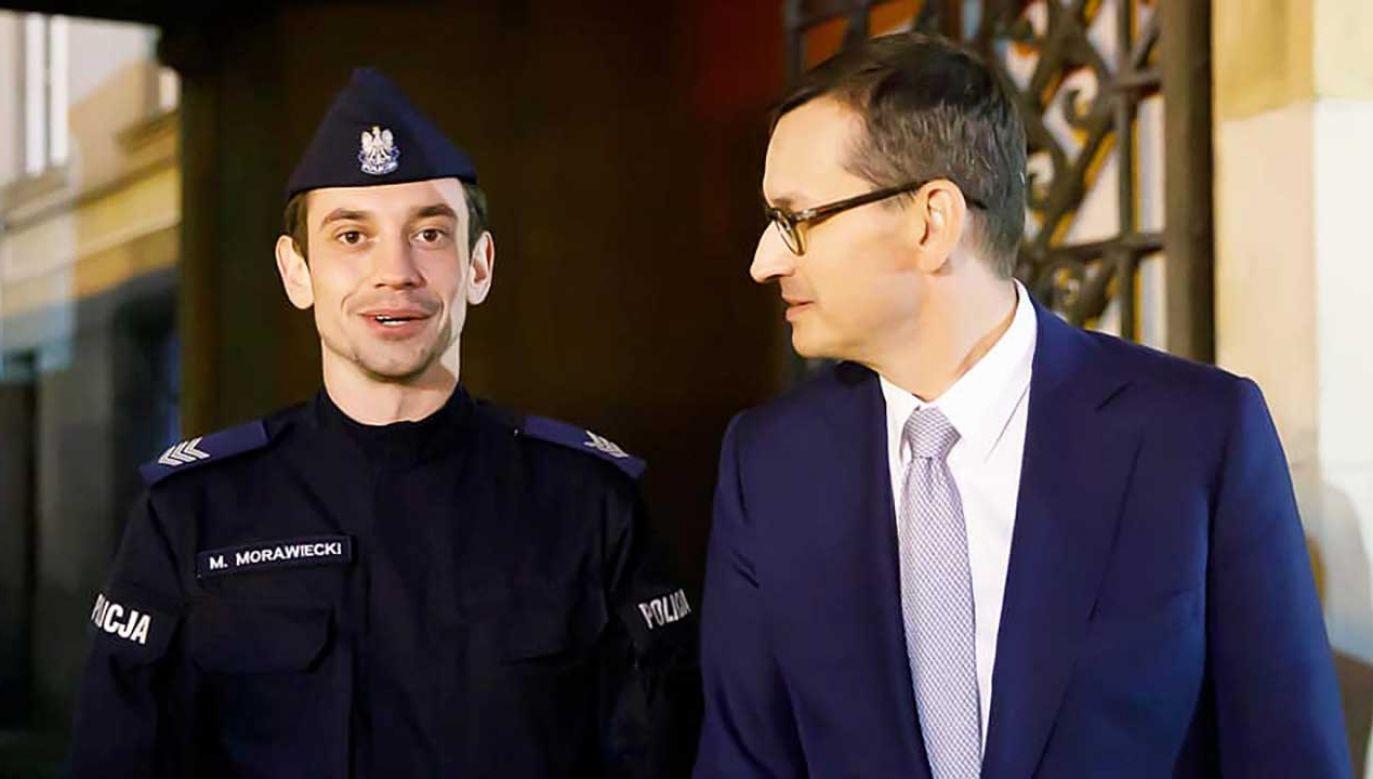 Zdjęcie obu panów można zobaczyć na koncie premira na Facebooku (fot. Krystian Maj/KPRM)