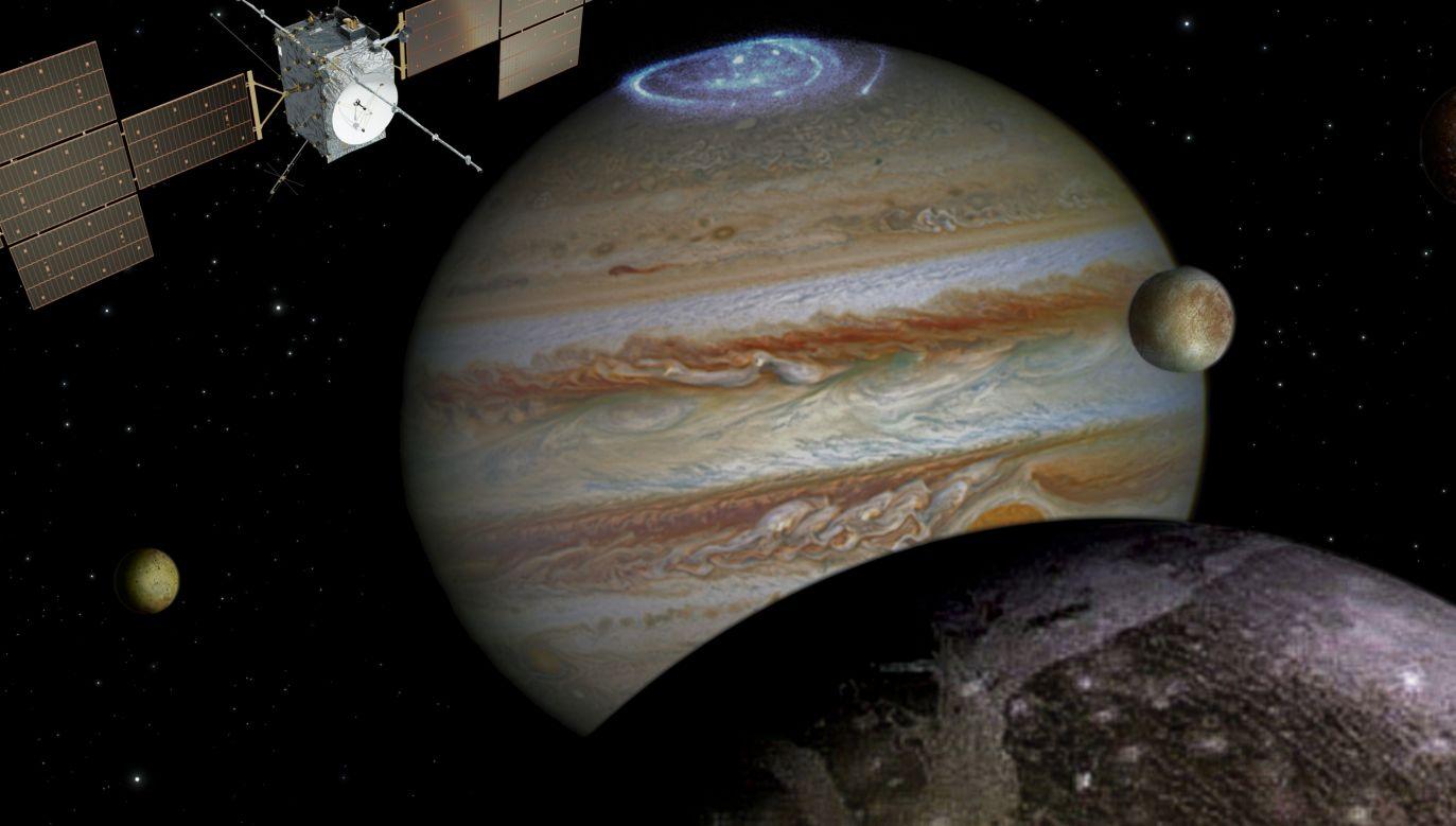Photo: spacecraft: ESA/ATG medialab; Jupiter: NASA/ESA/J. Nichols (University of Leicester); Ganymede: NASA/JPL; Io: NASA/JPL/University of Arizona; Callisto and Europa: NASA/JPL/DLR