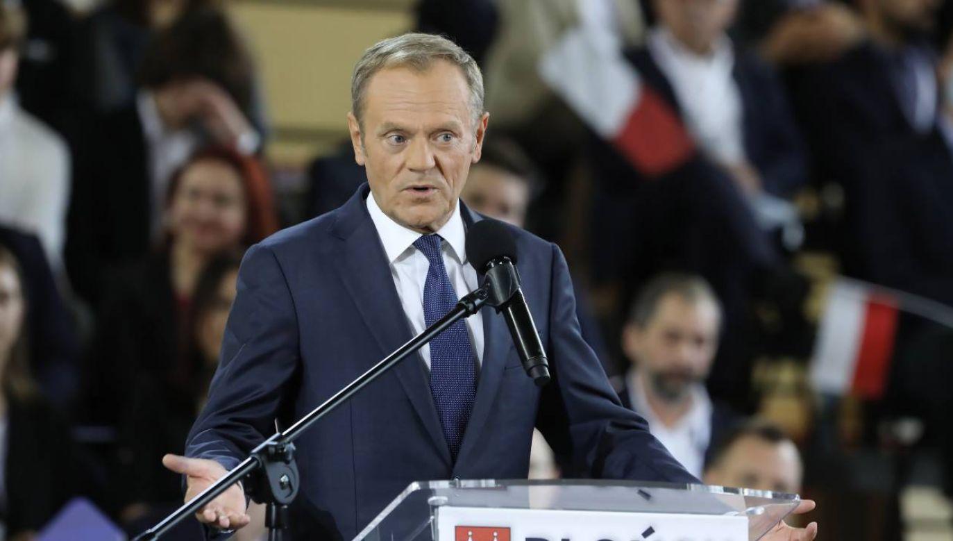 Donald Tusk wystąpił na konwencji PO (fot. PAP/Wojciech Olkuśnik)