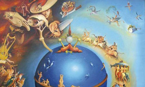 """Martin Georg Oscity: """"Raj Utracony"""", olej na płótnie, 2015 r. Fot. materiały prasowe – Galeria Miejska we Wrocławiu"""