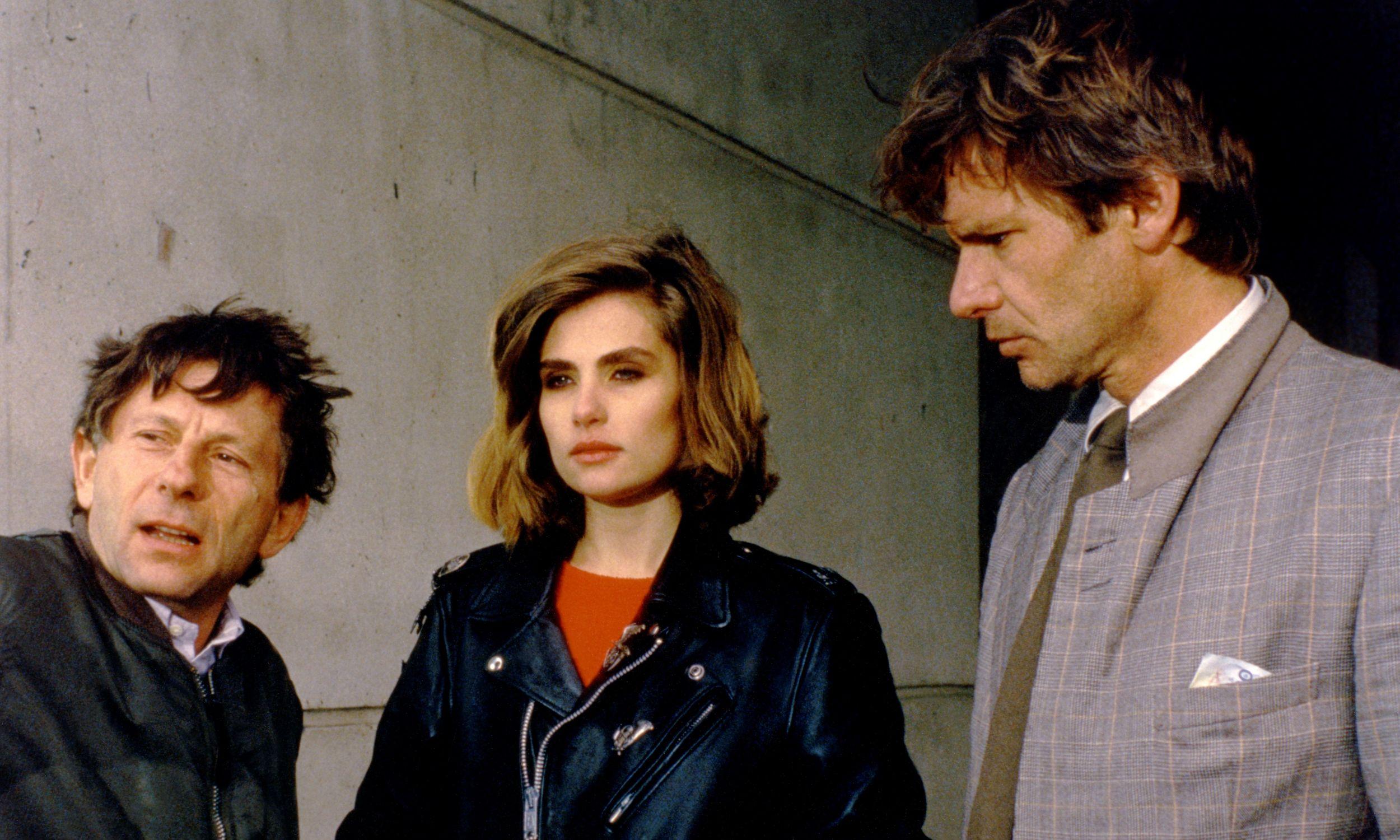 Roman Polański z Emmanuelle Seigner i Harrisonem Fordem na planie filmu