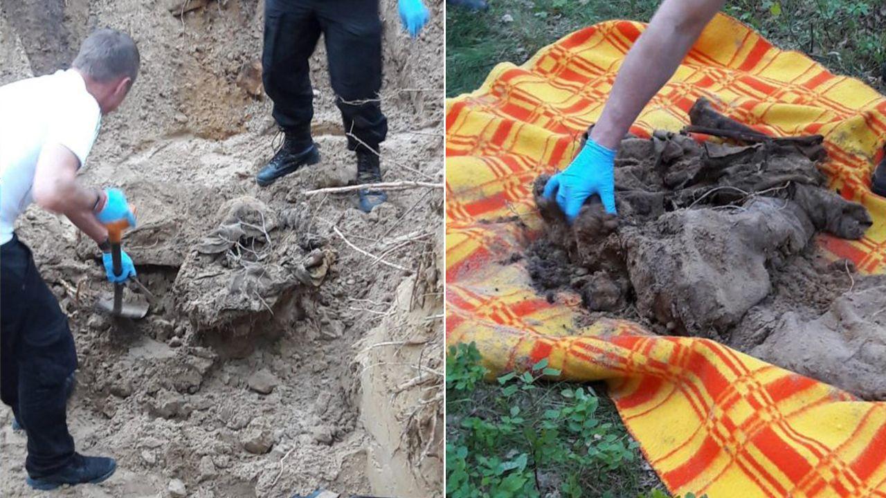Ludzkie szczątki wykopano w lesie (fot. policja.pl)