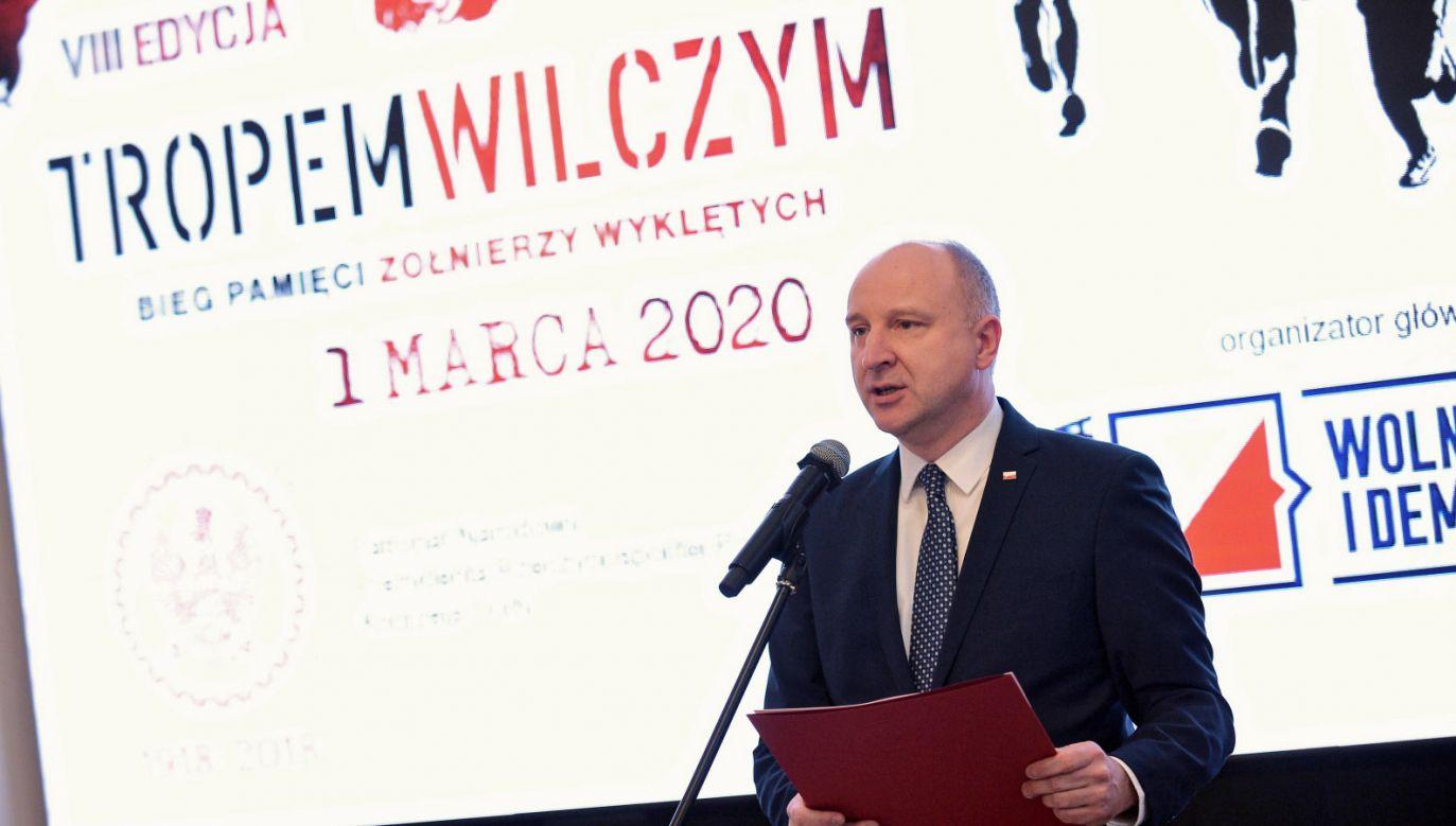 W Belwederze odbyła się konferencja prasowa ws. biegu (fot. PAP/Marcin Obara)