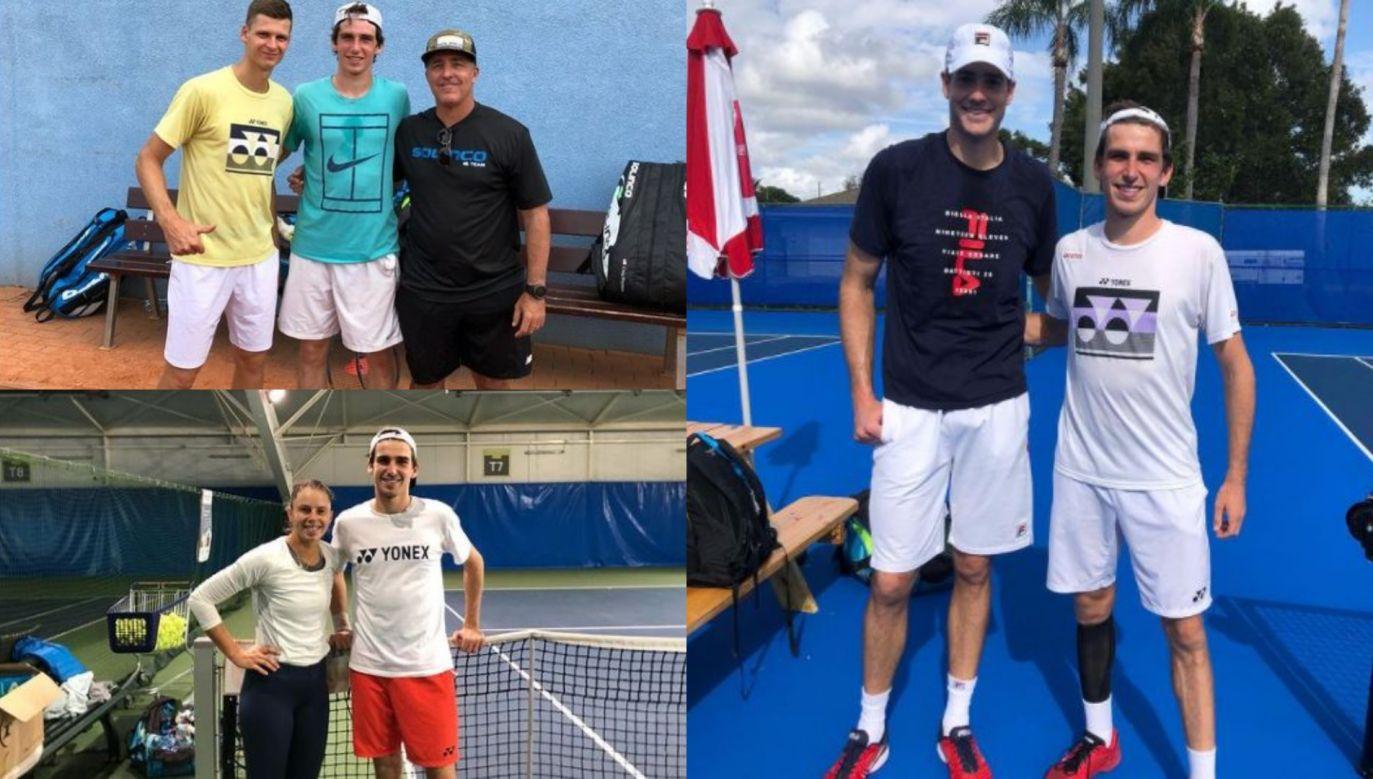 Mateusz Terczyński pomagał Hubertowi Hurkaczowi w Delray Beach i Saddlebrook (fot. Instagram)