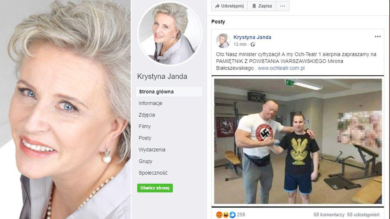Logo NSDAP na koszulce i gejowski plakat zostały dodane do zdjęcia (fot. FB/Krystyna Janda)