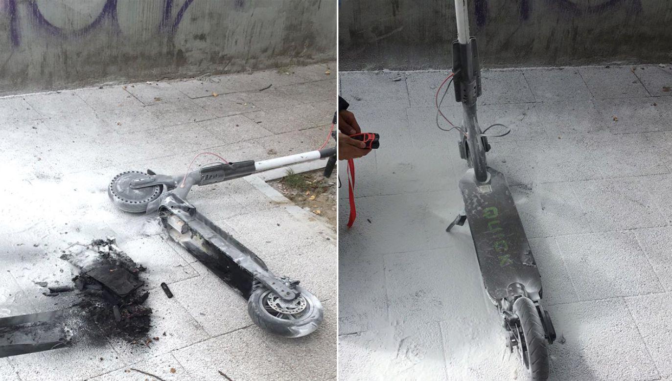 Po zbadaniu hulajnogi kamerą termowizyjną okazało się, że bateria ma 150 st. C (fot. PSP Sopot)