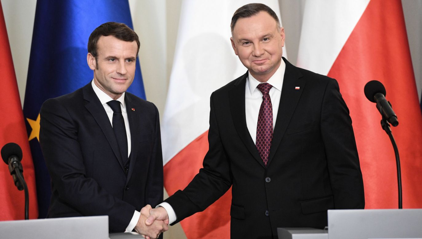 W Warszawie prezydent Francji Emmanuel Macron spotkał się z prezydentem Andrzejem Dudą, premierem Mateuszem Morawieckim, marszałkami Sejmu i Senatu (fot. PAP/Radek Pietruszka)