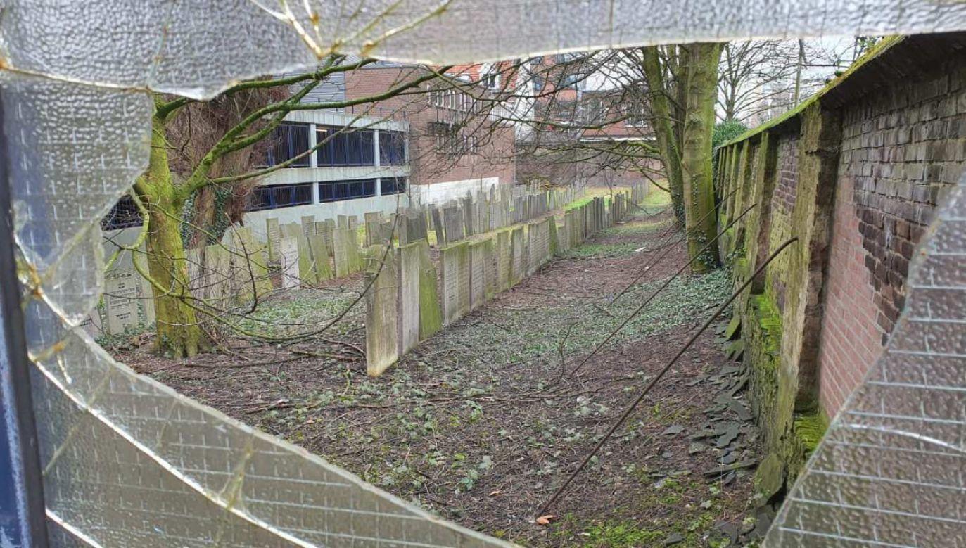 W piątek wybito szyby w obiekcie na cmentarzu żydowskim w Rotterdamie  (fot. Twitter/@ticiaverveer)