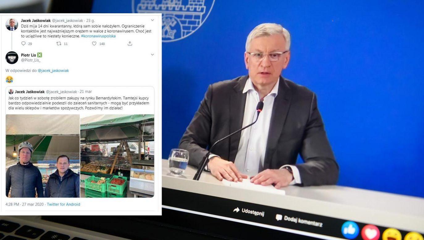 Nie wiadomo dlaczego prezydent Poznania twierdzi, że przebywał na dobrowolnej kwarantannie (fot. PAP/Jakub Kaczmarczyk, Twitter)