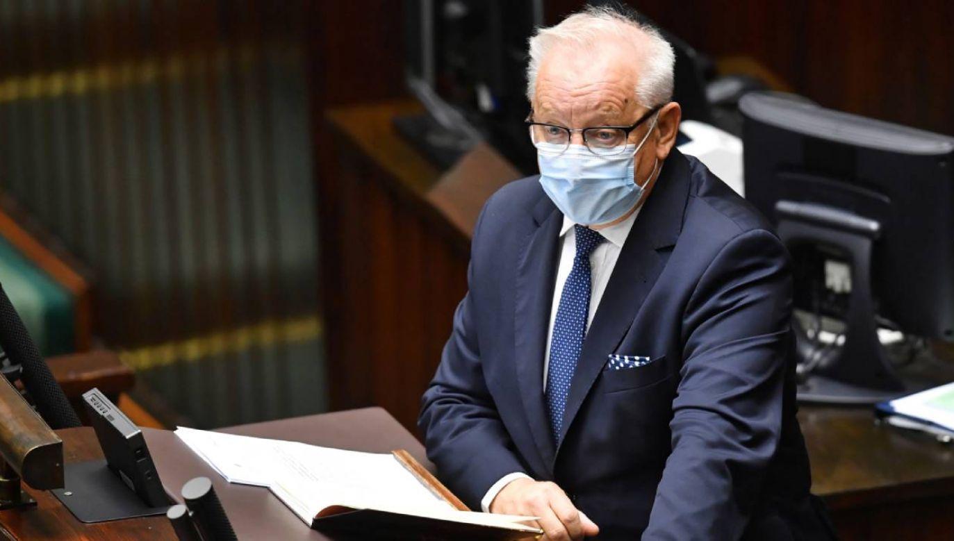 – Nie za bardzo się cieszę z tego wyroku TK, ale podzielam, że tej przesłanki konstytucyjnej nie da się w żaden sposób zakwestionować – stwierdził poseł PiS Bolesław Piecha (fot. PAP/Radek Pietruszka)