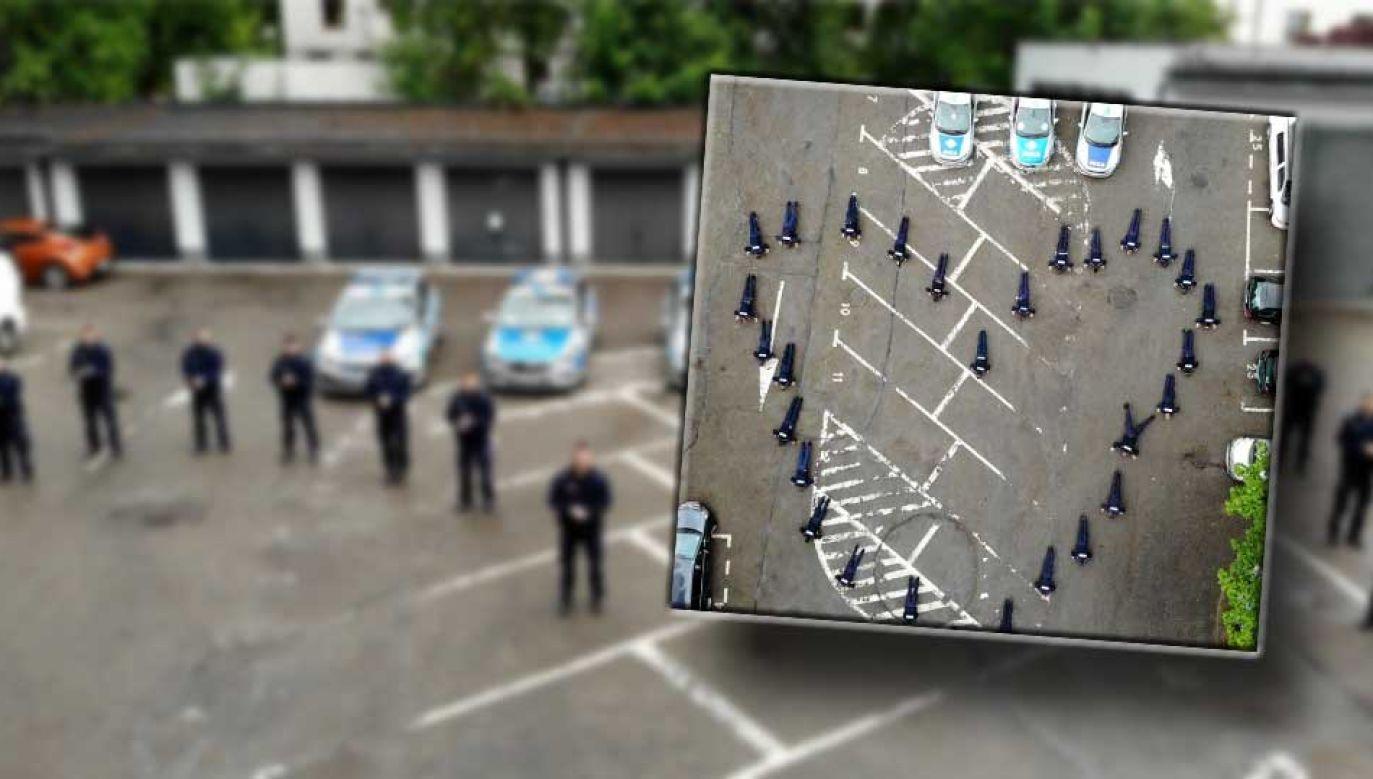Policjanci ustawili się w kształcie serca i ruszyli z pompkami (fot. piekary.slaska.policja.gov.pl)