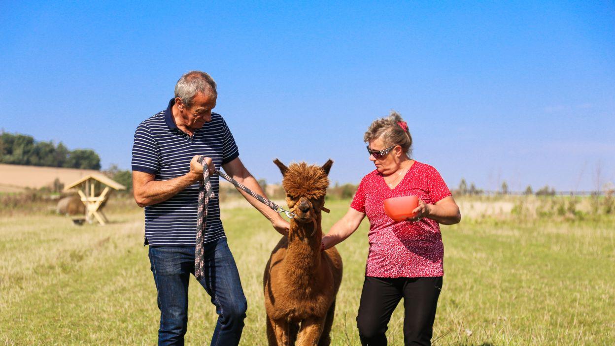 Miło spędzony czas na świeżym powietrzu zwieńczył spacer każdej z par kuracjuszy z oswojonymi przez siebie zwierzętami. (fot. TVP)