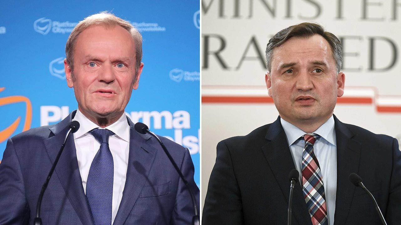 Donald Tusk i Zbigniew Ziobro (fot. PAP/Wojciech Olkuśnik, Marcin Obara)