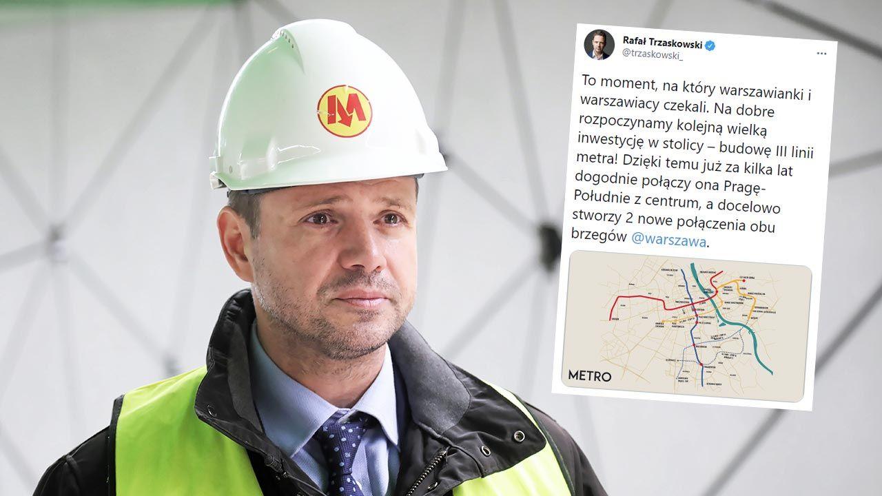 III linia metra w Warszawie. Rafał Trzaskowski komentuje (fot. PAP/Wojciech Olkuśnik)