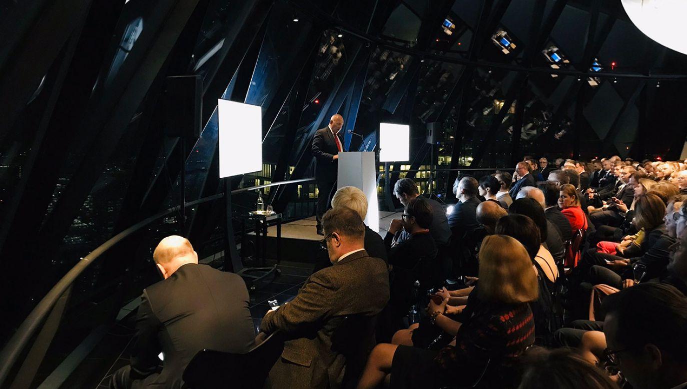 Uroczyste otwarcie odbyło się w środę wieczorem w The Gherkin (fot. Twitter/Ministerstwo Finansów)
