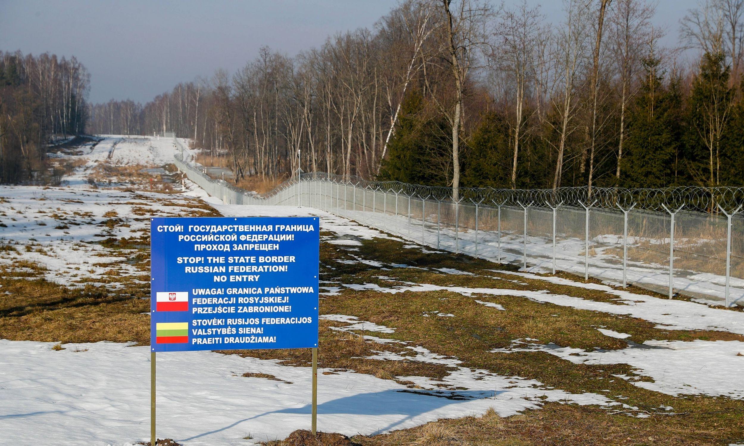 Region Kaliningradzki, luty 2019 r. Rosyjska granica z Litwą i Polską, pod jurysdykcją placówki granicznej Jakowlewka. Fot. PAP / ITAR-TASS, Vitaly Nevar