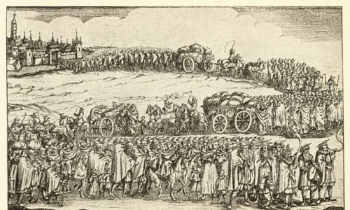 Wypędzenie Żydów z Wiednia. Rytownictwo, 1670. Fot. Imagno/Getty Images