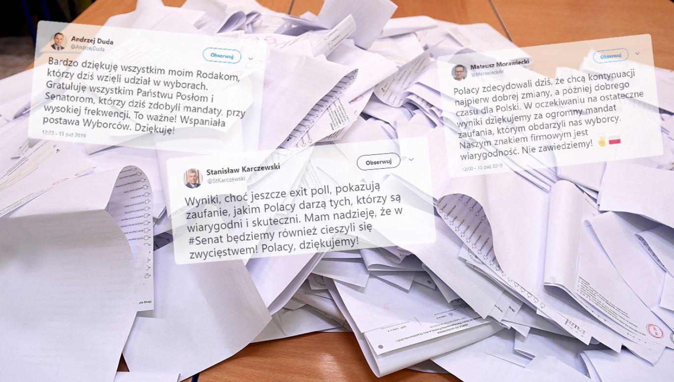 Politycy i komitety wyborcze dziękują za udział w wyborach (fot. PAP/Darek Delmanowicz/twitter)