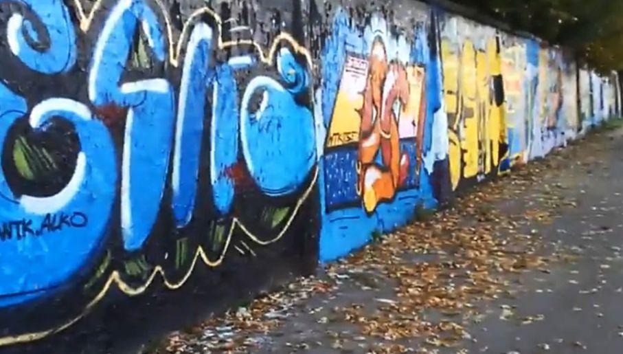 Ściana z grafitti na warszawskim Służewcu (fot. YouTube)