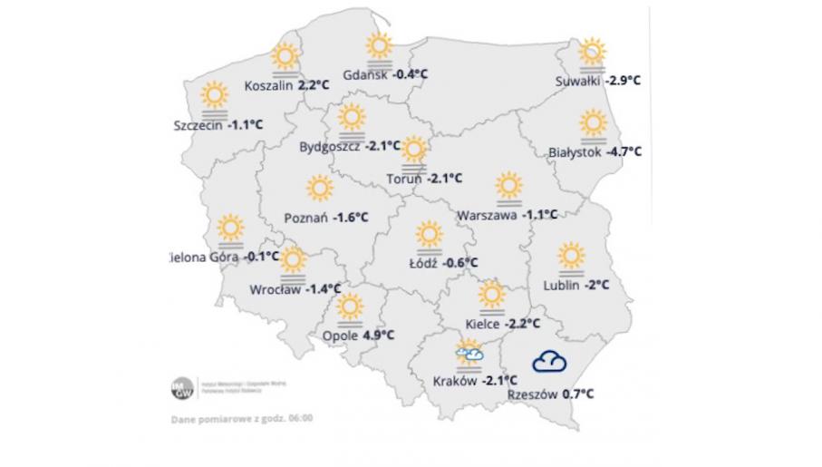 Pogodowa mapa Polski na poniedziałek 22 lutego 2021 (fot. IMGW)