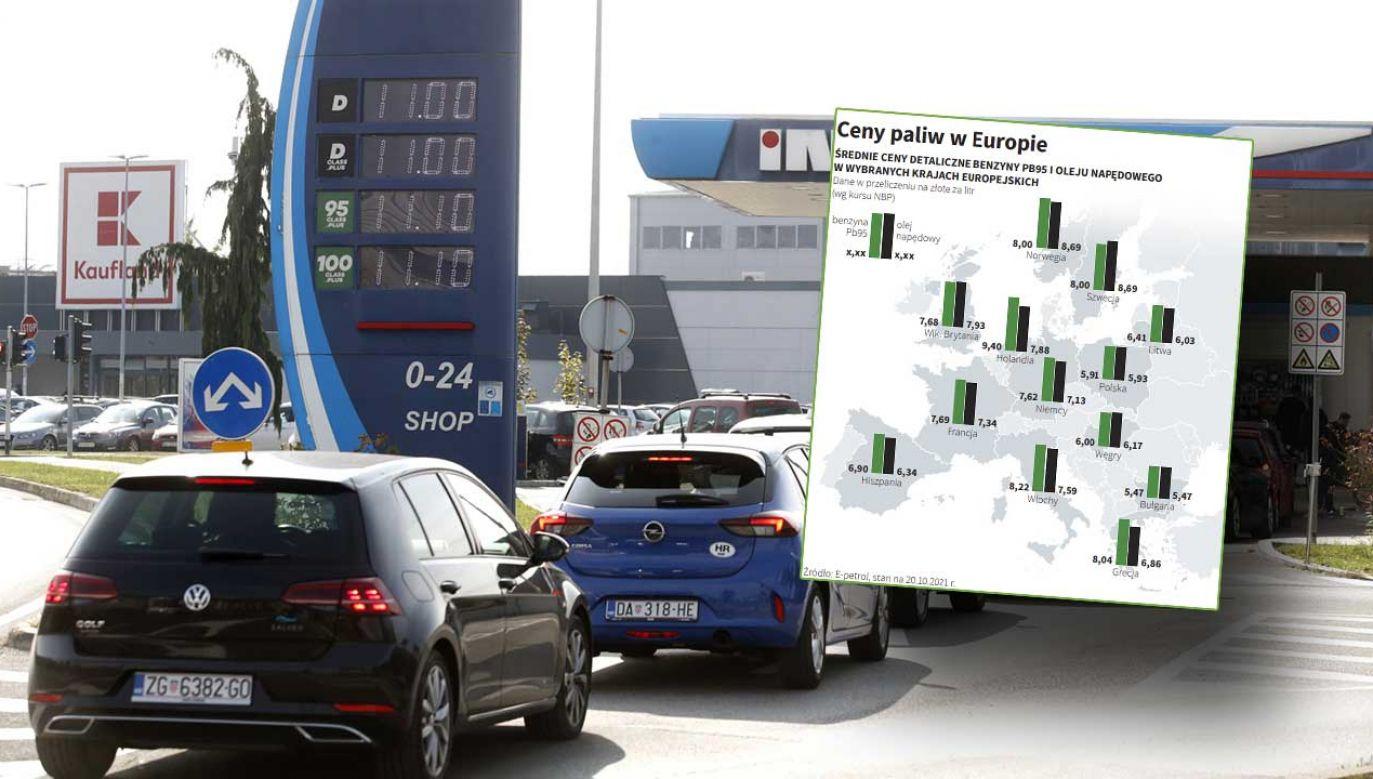 Mapa cen paliw w Europie (fot. PAP/EPA/ANTONIO BAT)
