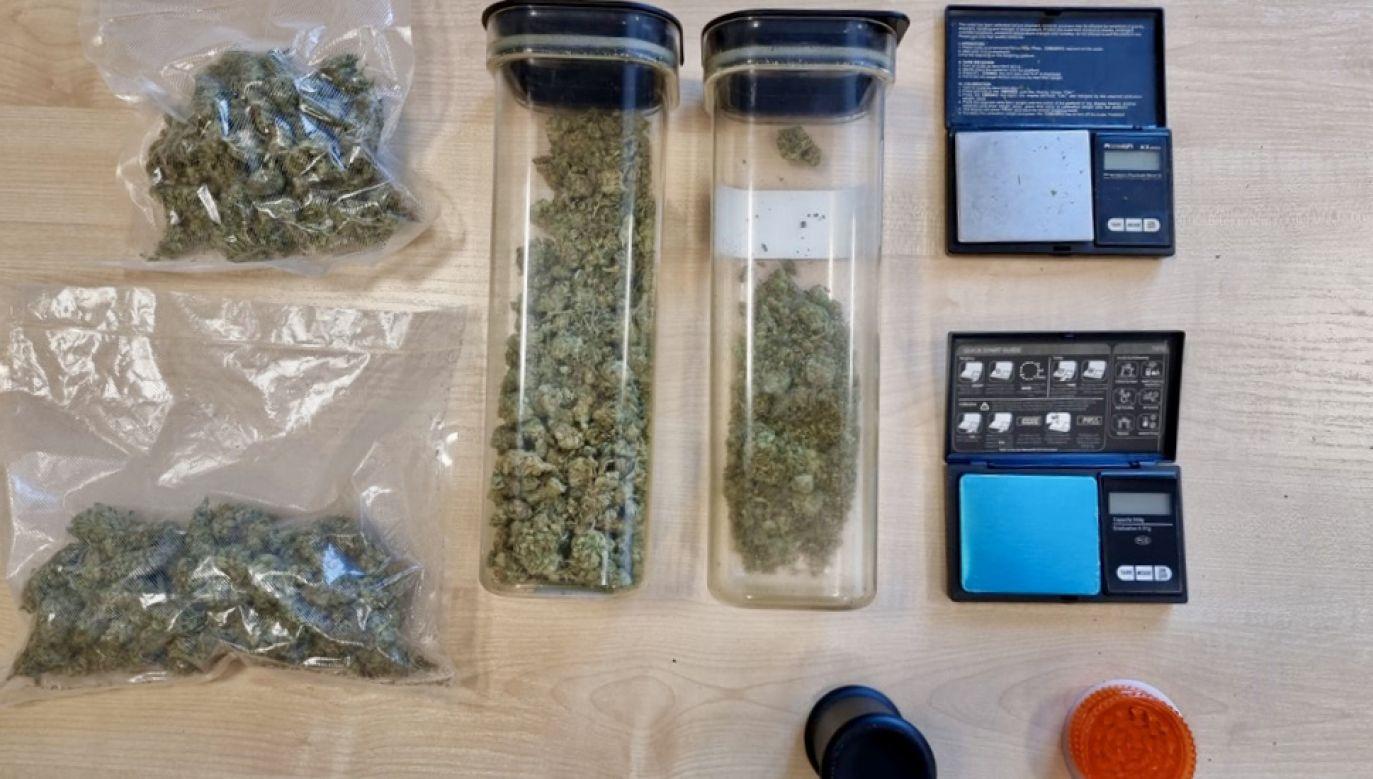Podczas przeszukania mieszkania śledczy znaleźli 250 gramów marihuany(fot. KRP Warszawa II)