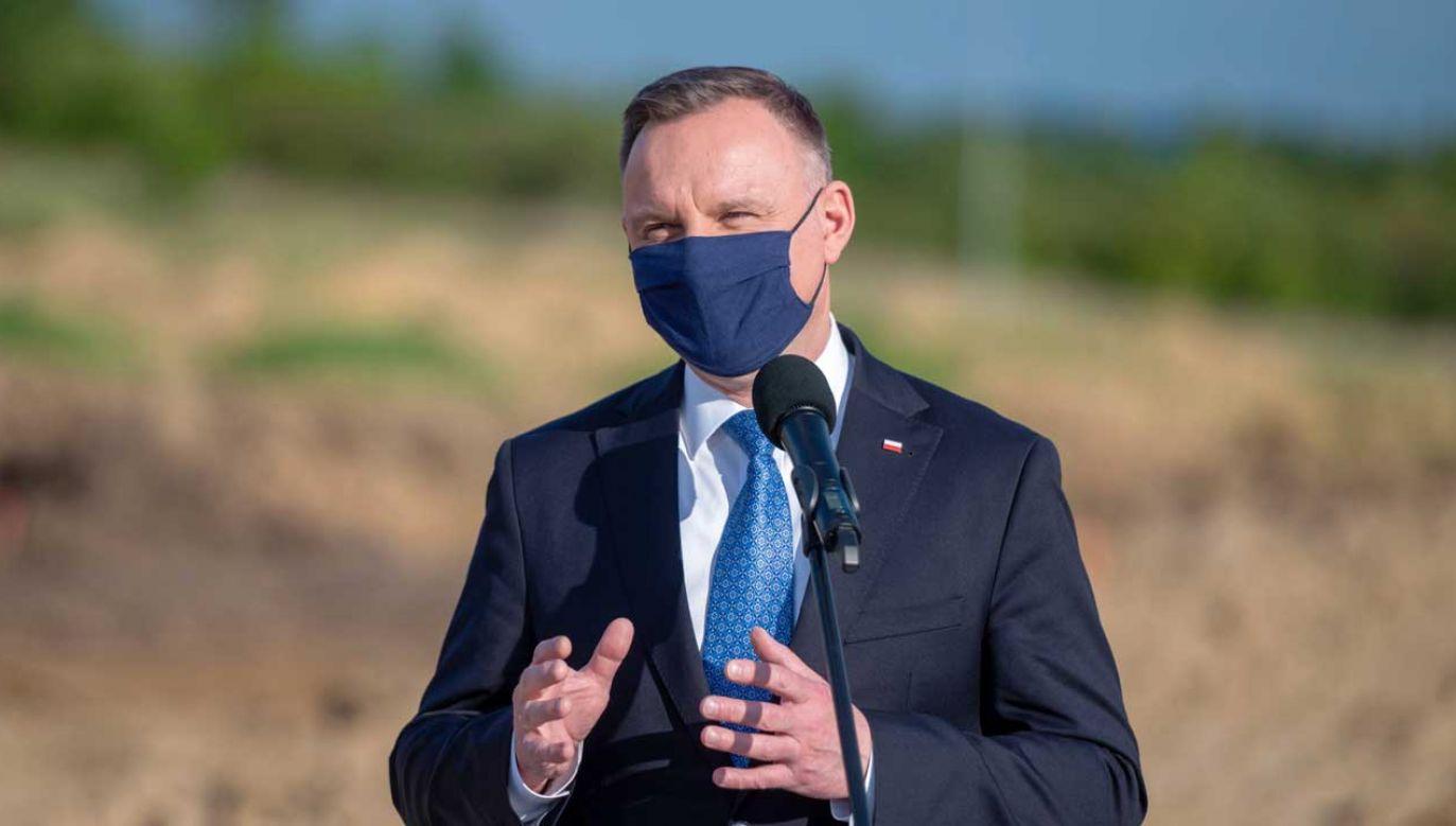 Prezydent Andrzej Duda złożył życzenia rolnikom z okazji Zielonych Świątek (fot. PAP/Paweł Topolski)