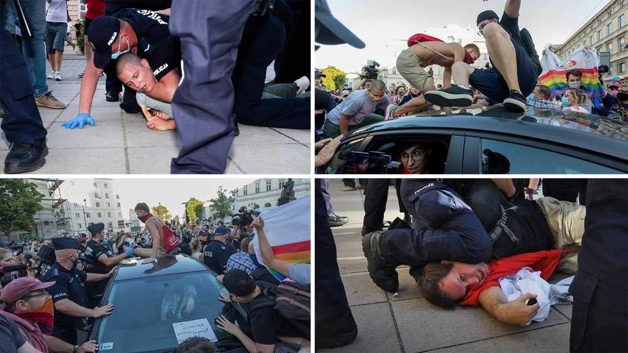 W sumie policja zatrzymała 48 osób (fot. Twitter/ Policja; Twitter/ Katarzyna Lubnauer)