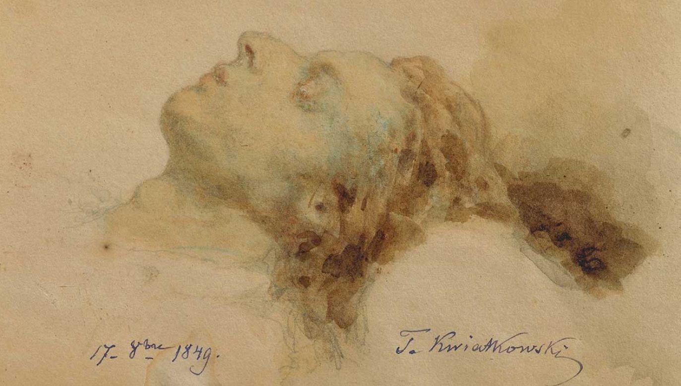 Rysunek Antona Teofila Kwiatkowskiego, Chopin na łożu śmierci, 17 października 1849 r. (fot. DEA / G. DAGLI ORTI/De Agostini via Getty Images)