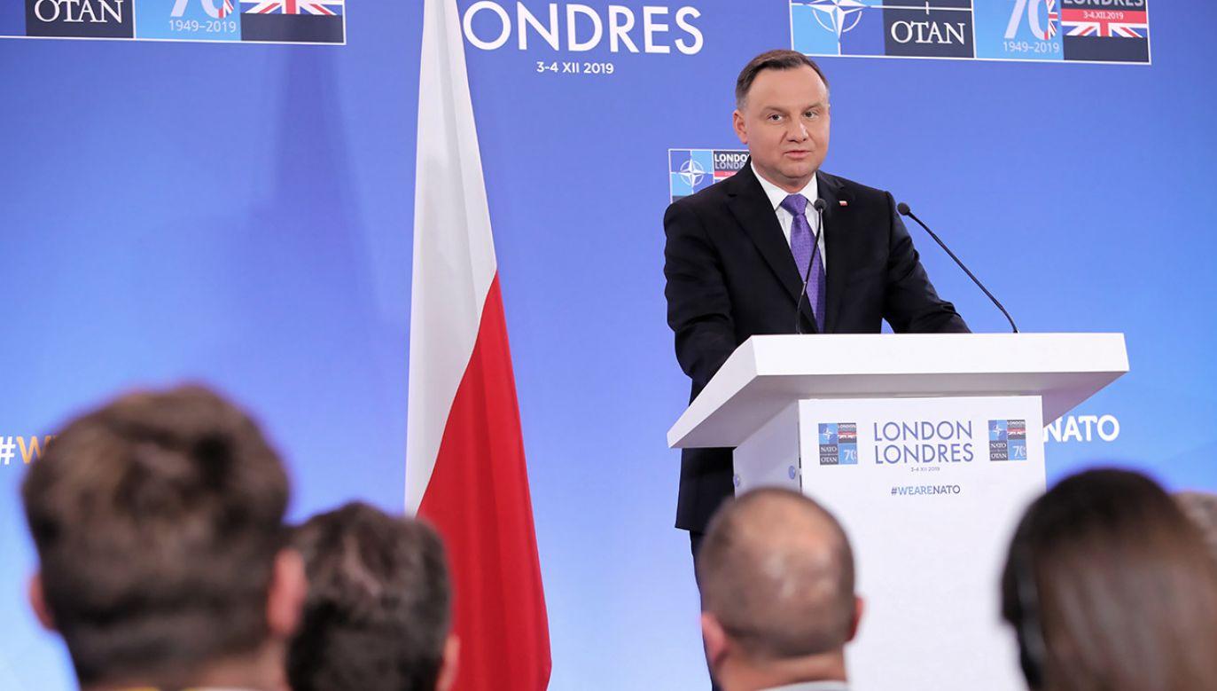 Byli tacy, którzy wieszczyli rozpad NATO, ale szczyt okazał się sukcesem, także jeśli chodzi o bezpieczeństwo Polski - zapewnił Andrzej Duda (fot. PAP/Wojciech Olkuśnik)