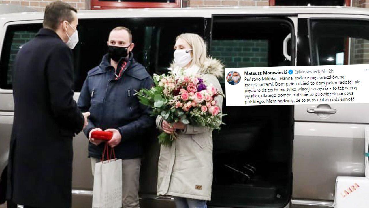 Premier przekazał kluczyki do rodzinnego samochodu na ręce świeżo upieczonego  taty (fot. Krystian Maj/KPRM)