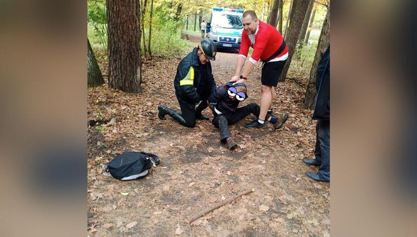 Mężczyznę powstrzymano (fot. Facebook/Sekcja Konna Straż Miejska Łódź)