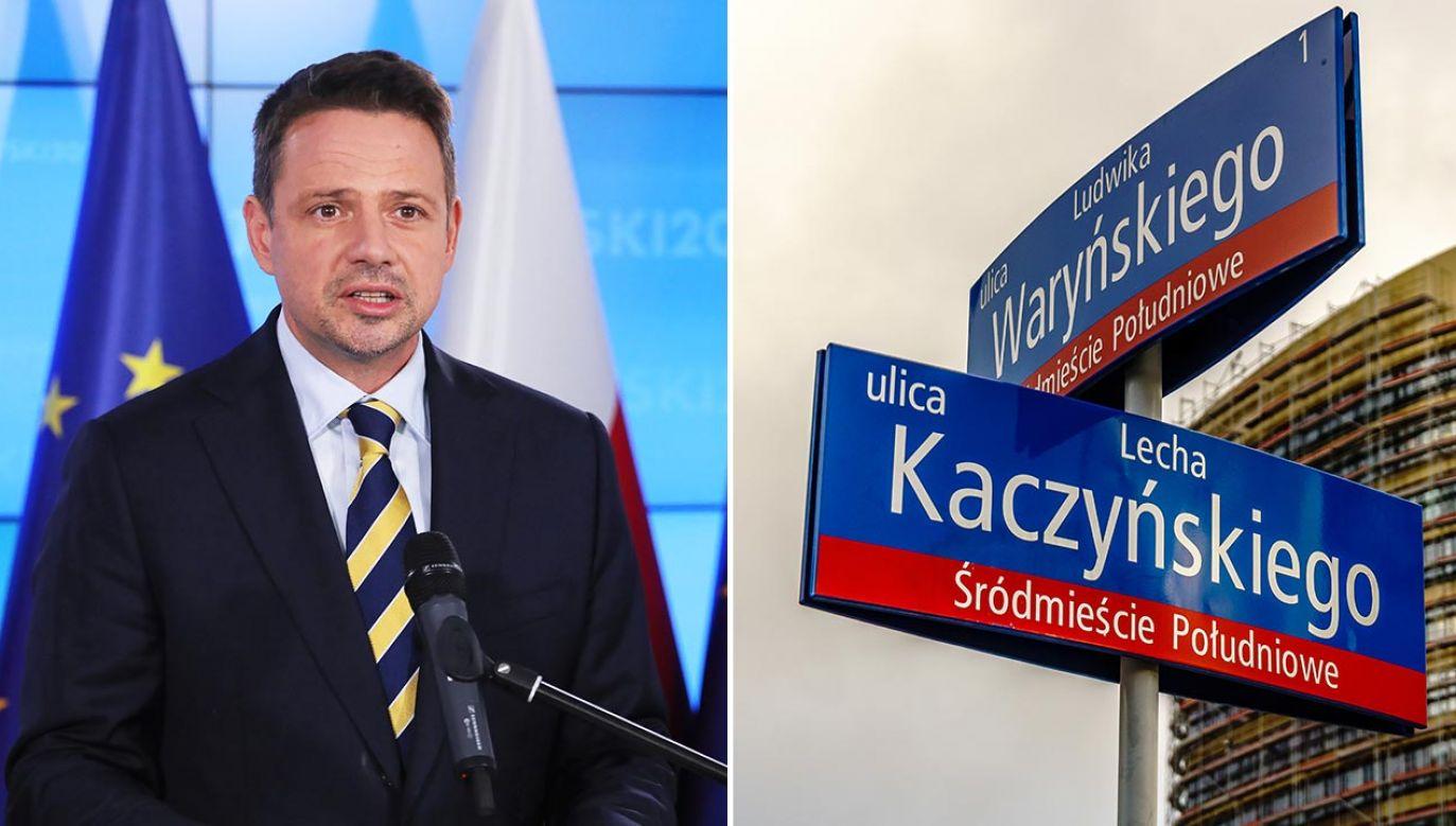 Rafał Trzaskowski o ulicy Lecha Kaczyńskiego (fot. PAP/Paweł Supernak; Shutterstock/ASkwarczynski)