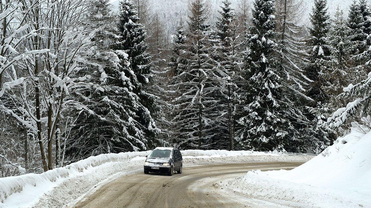 Ośnieżona droga przy wjeździe do Cisnej w Bieszczadach (fot. arch.PAP/Darek Delmanowicz)