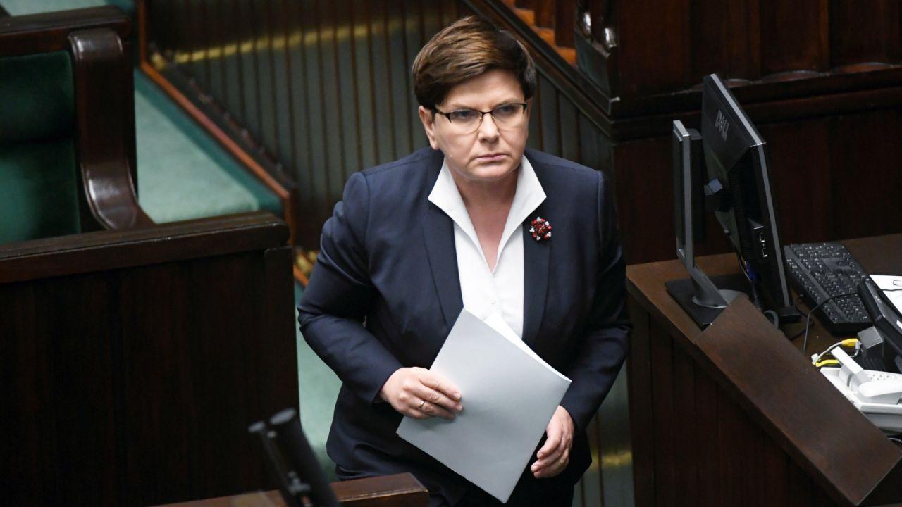 Premier Beata Szydło podczas posiedzenia Sejmu (fot. PAP/Bartłomiej Zborowski)