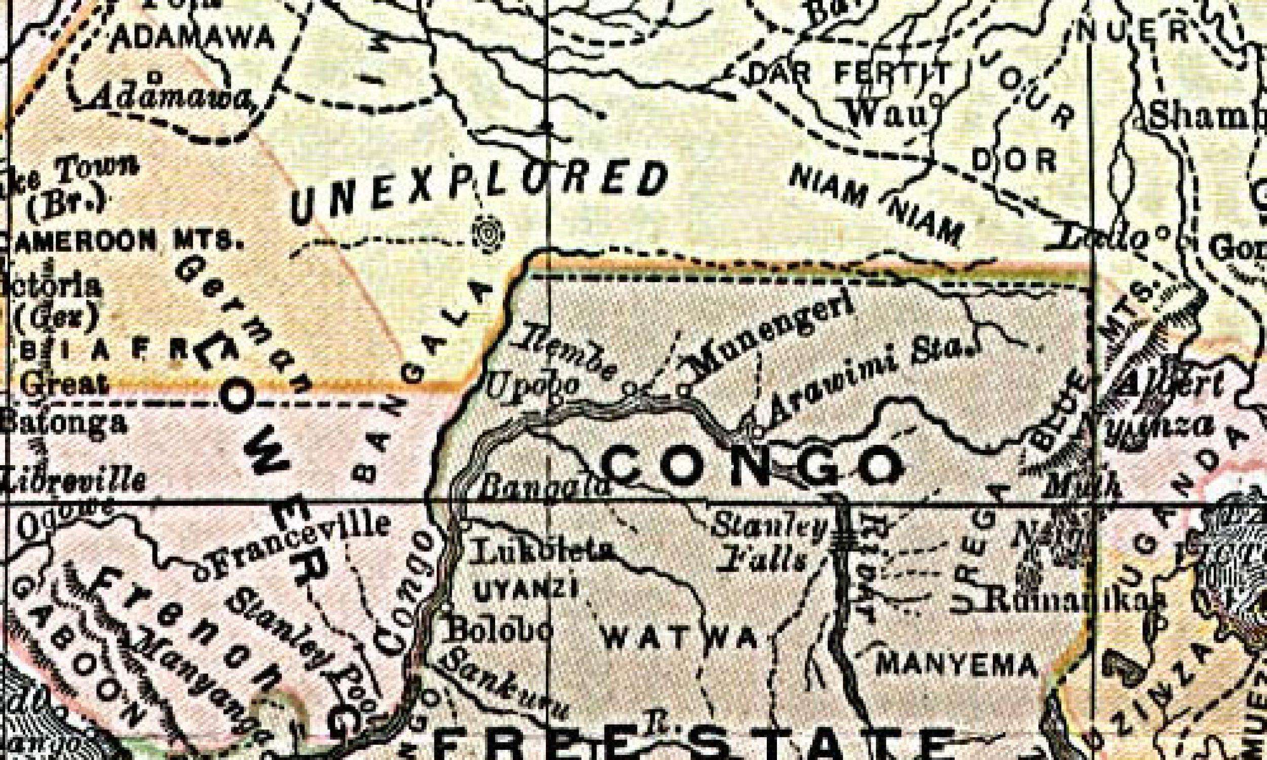 Mapa Wolnego Państwa Konga z roku 1892. Fot. Wikimedia