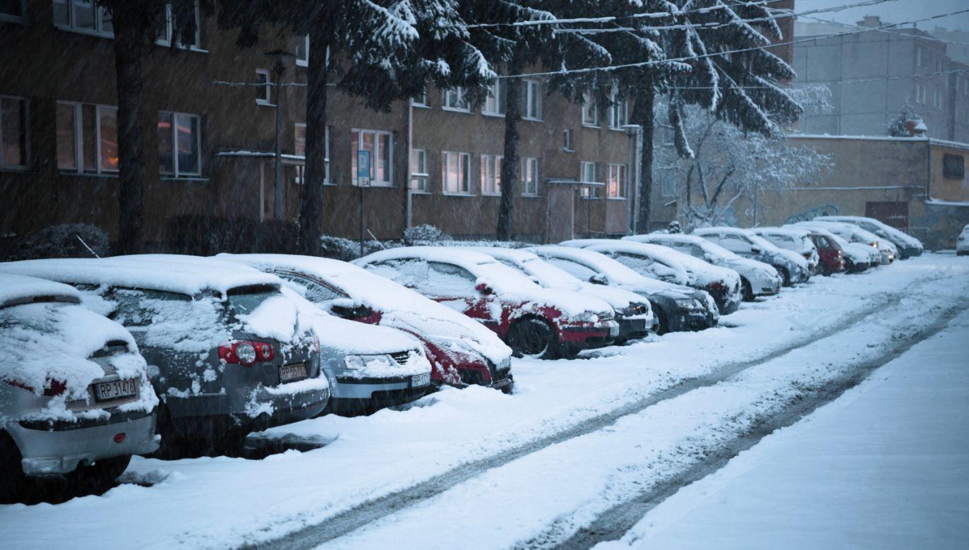 Intensywne opady śniegu w Przemyślu (fot. Darek Delmanowicz/PAP)