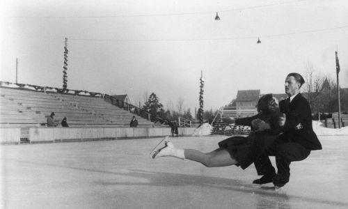 Mistrzostwa Europy w Łyżwiarstwie Figurowym w Zakopanem, 1939. Fragment zawodów.